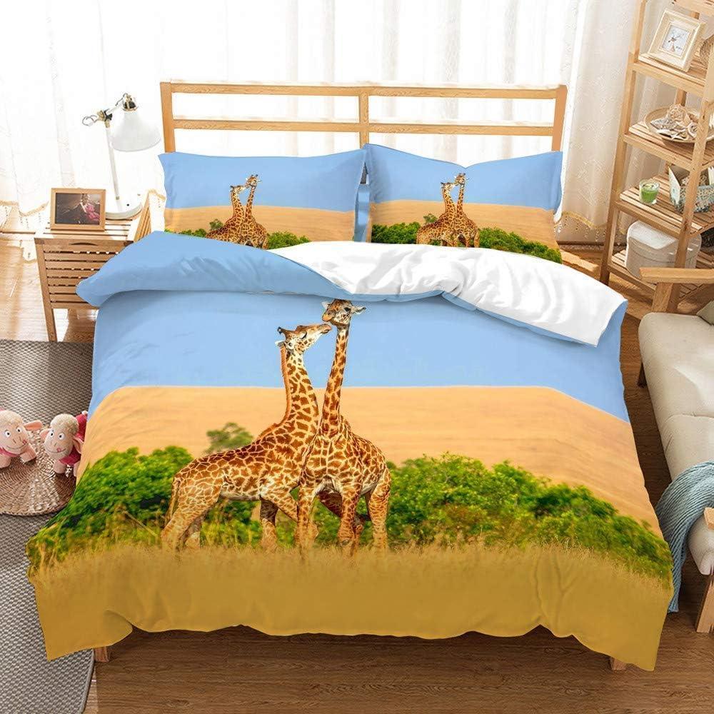 Ensembles De Literie Girafe Personnalisés en 3D, Taie d'oreiller en Microfibre avec Fermeture À Glissière Dissimulée (Girafe Giraffe 15