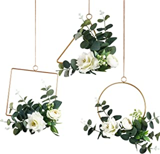 Pauwer Floral Hoop Wreath Set of 3 Handcrafted Clematis and Rose Flower with Eucalyptus Greenery Metal Hanging Hoop Wreath for Wedding Arch Backdrop Bridal Baby Shower Wall Decor