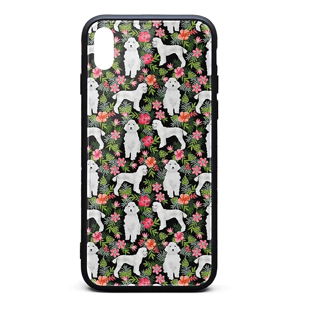 Fashion Phone Case for iPhone Xs MAX Retro Poodle Dog Tropical Floral1 Rubber Frame Tempered Glass Covers Pretty Scratch-Resistant Skid-Proof Never Fade Cell Cases Fancy