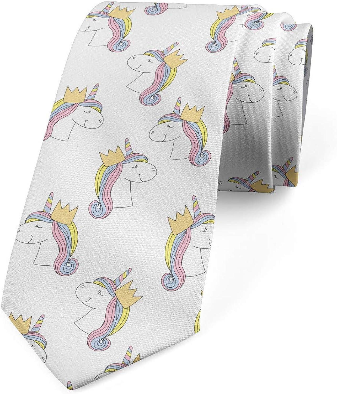 Ambesonne Men's Tie, Unicorn with a Crown, Necktie, 3.7