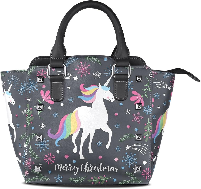 My Little Nest Women's Top Handle Satchel Handbag Merry Christmas Cartoon Unicorn Ladies PU Leather Shoulder Bag Crossbody Bag