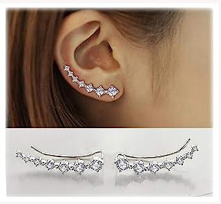 comprar comparacion 7 Cristales Ear Cuffs Hoop Climber S925 Sterling Pendientes de plata Pendiente hipoalergénico