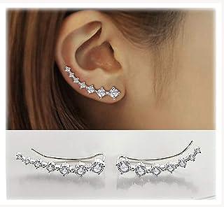 Boucles d'oreilles Grimpeur Hypoallergénique Boucles d'Oreilles 7 Cristaux 925 Argent Sterling Cristal Hypoallergénique Bi...