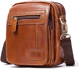 Leather Bag Mens Vintage Leather Men Single Shoulder Bag Multi-Layer Business Casual Cross-Body Bag Leather Fanny Pack High Capacity (Color : Brown, Size : S)