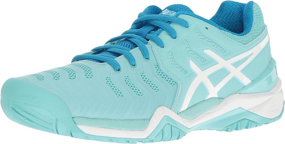 ASICS Wohommes Gel-Resolution 7 Tennis chaussures, Aqua Splash blanc Diva bleu, 5 M US