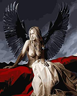 RENWUANG Colour DIY Oil Painting, Paint by Number Kits for Adults - Nude Angel Pattern ,Home Decor Wall Art- 16x20 in