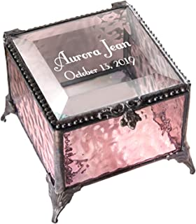 Personalized Baby Keepsake Box Customized Baptism Christening Gift Engraved Glass Jewelry Trinket J Devlin Box EB217-2 (Pink)