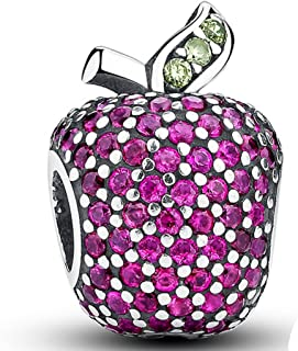 Apple Rose Red Crystal Green Leaf 925 Sterling Silver Bead Charm