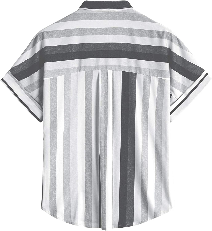 Womens V Neck Button Down Shirt Cuffed Short Sleeve Striped Blouse Casual Summer Tops