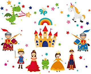 ufengke Prince and Princess Wall Stickers Castle Knights Wall Art Decals Wall Decor for Kids Bedroom Nursery Living Room