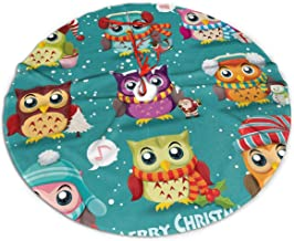 BJHAP Christmas Tree Skirt, Merry Owls Tree Skirt for Christmas Home Decorations for Xmas Party and Holiday Decorations 36 Inch