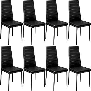 tectake 800881 Lot de 8 Chaises de Salle à Manger 41x45x98,5cm Design épuré Cadre en Acier - Diverses Couleurs (Noir)
