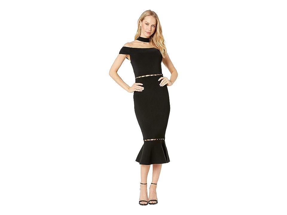 Bebe Lara Button Detail Cut Out Dress (Jet Black) Women