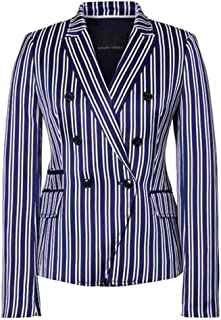 Blue and White Stripe Double-Breasted Blazer