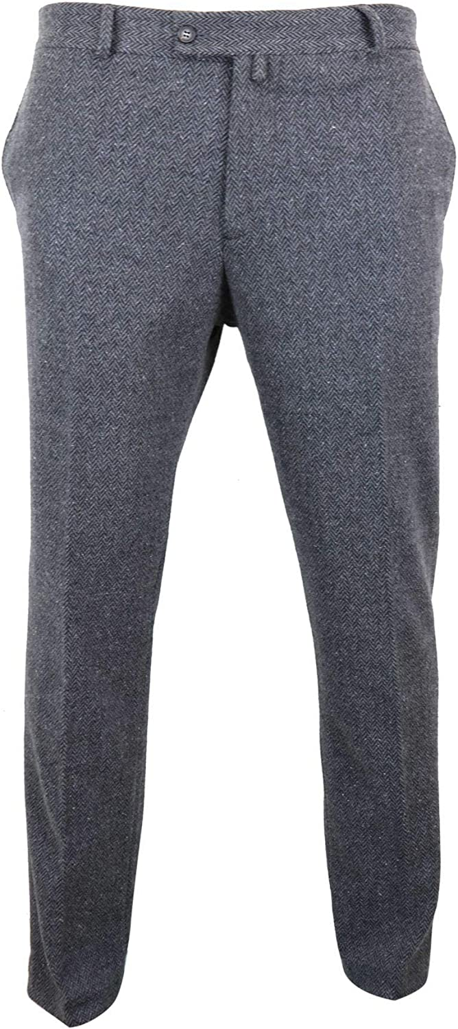 TruClothing.com Mens Grey Super popular specialty store Courier shipping free Charcoal Tweed Herringbone Wo Trousers