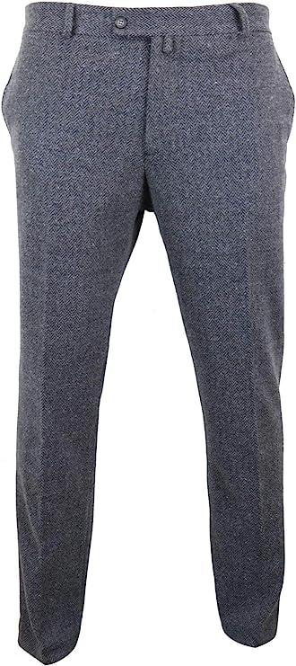 1920s Men's Pants History: Oxford Bags, Plus Four Knickers, Overalls Mens Grey Charcoal Tweed Trousers Herringbone Wool Vintage Retro Peaky Blinders  AT vintagedancer.com