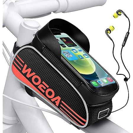 """WOEOA Borsa Telaio Bici, Porta Cellulare Bici Impermeabile Supporto Telefono Manubrio per Mountain Bike Touch Screen Buco per Auricolare Borse per iPhone 11/ 11pro/ X/XR/ 8 Samsung Note 4.5""""-6.7"""""""