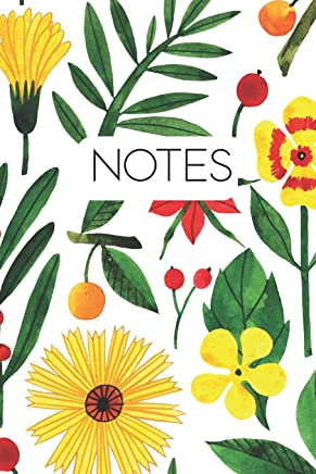 Notes: White Botanical Flowers Modern Notebook for Journalling or Note-taking. 120 Pages.