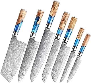 Couteaux de cuisine - Set Damascus Steel VG10 Chef Couteau Cleaver PARING COUTEAU PAIN COUTEAU BLUE RÉSINE ET COULEUR POIG...