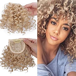 DIFEI Creative 2019 New Afro Kinky Curly Hair Bangs Can Be Hair Closure Chignons Puff Drawstring Ponytail in Hair Extension for Black Women (27/613# Bangs)