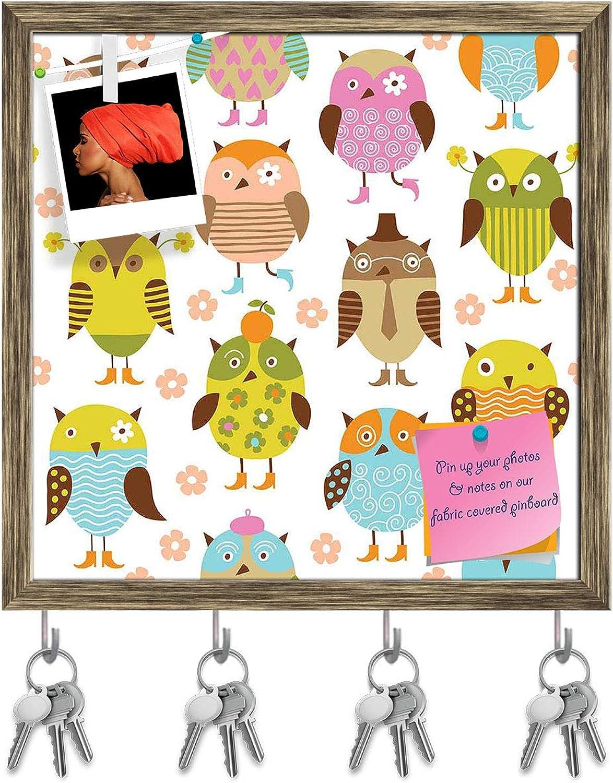 Artzfolio Pretty Birds Key Holder Hooks   Notice Pin Board   Antique golden Frame 20 X 20Inch