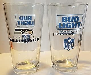 Seattle Seahawks - Bud Light Pint Glasses   Clear Beer Pints Set of 2