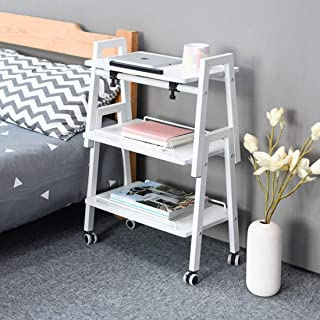 JYQ-SZRQ Accent Table, Sofa Side Table,Removable Nightstand,Wooden End Coffee Table,Portable Laptop Couch Table,with Metal Frame Rolling Casters (Color : White)