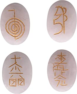 Jet Genuine Rose Quartz Usui Reiki Healing Set Chakra Balancing Meditation Gemstone Spiritual Energized Positive Free Book...
