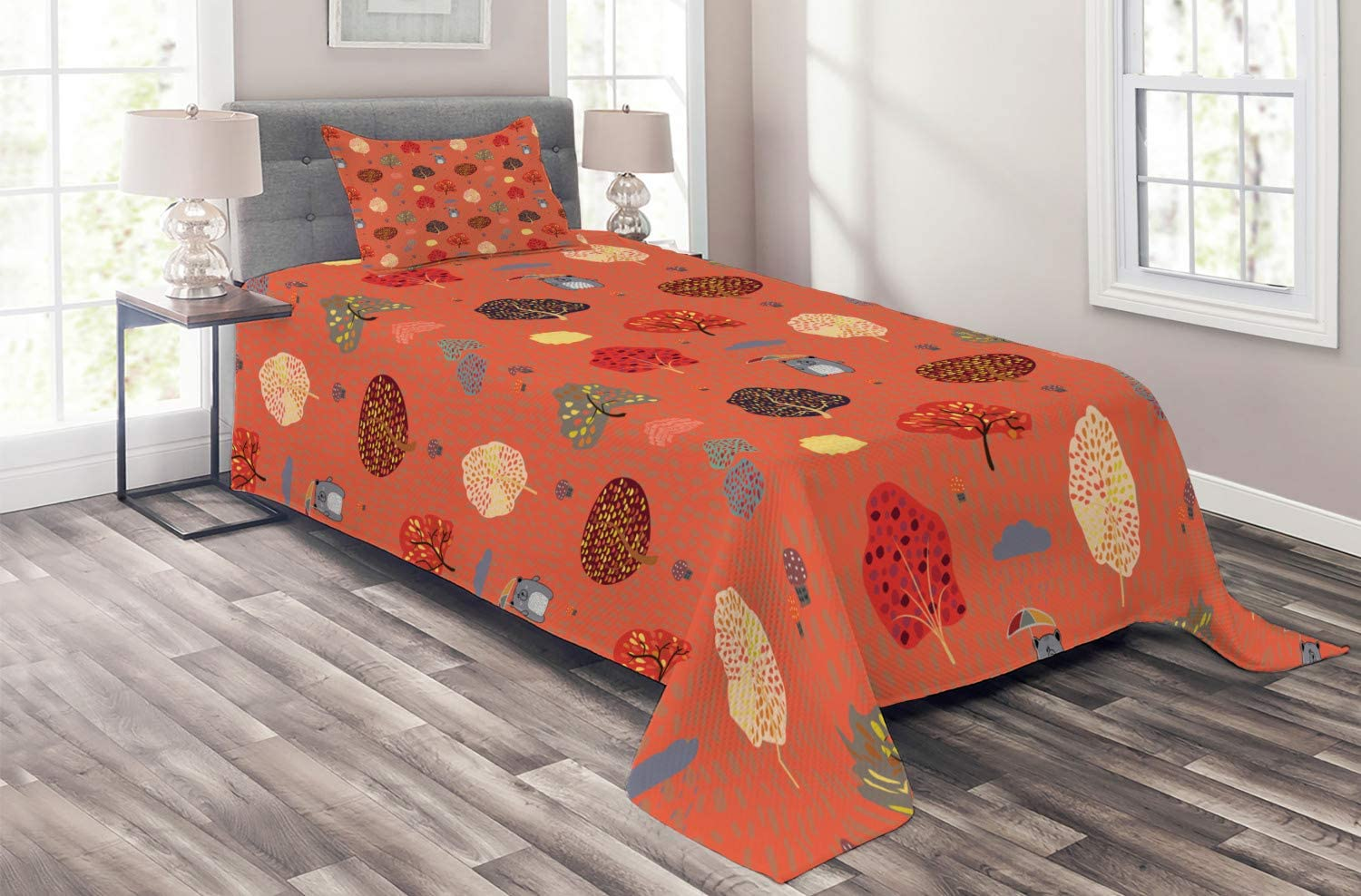 Ambesonne Childish Coverlet Bear Holding Au NEW before selling a in Rainy High order Umbrella