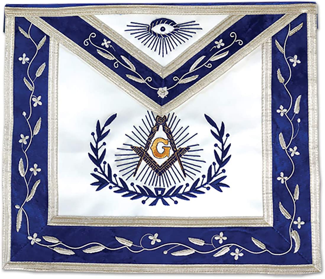 Master Product Mason with Embroidered San Antonio Mall Border - Whi Masonic Apron Blue