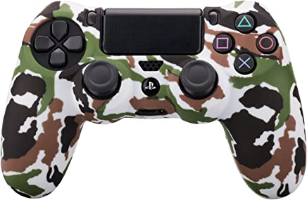 MXRC Silicone rubber cover skin case anti-slip Water Transfer Customize Camouflage for PS4/SLIM/PRO controller x 1(white)