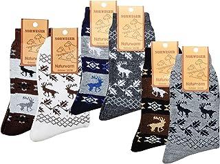 socksPur, 2 pares de calcetines noruego Country con lana de oveja, diseños noruegos. Marine-anthrazit 35-38