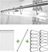 Bolford Rust Proof Shower Rod Set, 1 Stainless Steel Adjustable Tension Shower Rod, 1 Clear Plastic Shower Curtain Liner and 12 Shower Bar Rings/Hooks