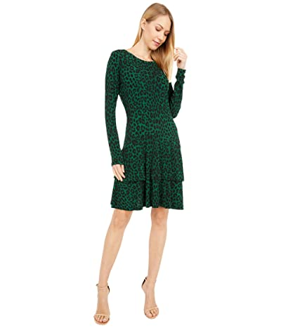 MICHAEL Michael Kors Cheetah MJ Flounce Dress (Moss) Women