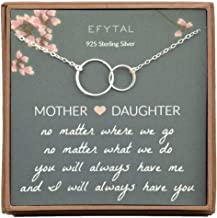 EFYTAL Gifts for Mom and Daughter, Sterling Silver Infinity Mother's Day Gift, 2 Interlocking Circles Necklace