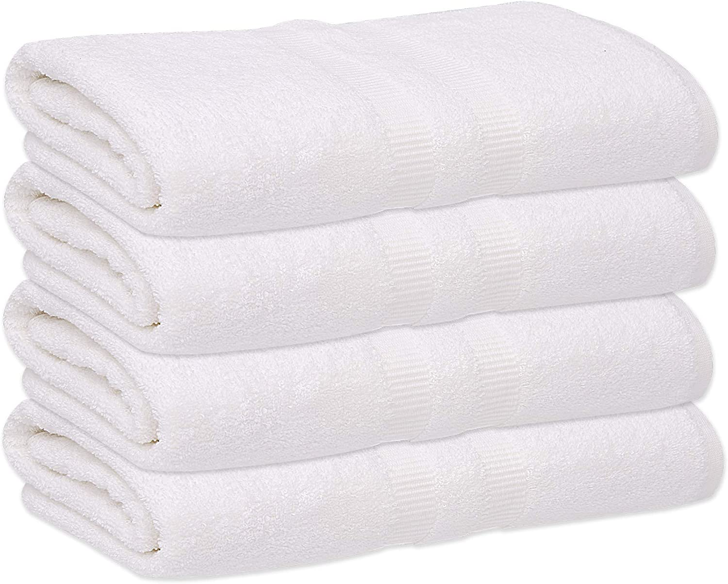 gold TEXTILES 6 Pack Premium Cotton Bath Sheets (Bright White, 30x60 Inch) Luxury Bath Towel Perfect for Home, Bathrooms, Pool and Gym Ringspun Cotton (6, White)