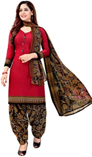 Rajnandini Women's Red Crepe Printed Unstitched Salwar Suit Dress Material (Free Size)