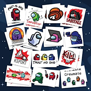 Crewmate Temporary Tattoos | Imposter - Red is Sus - Emergency Meeting - Trust No One - Sabotage - Shhhh! & more | Pack of...