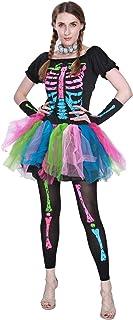 Mujer Miedoso Punky Huesos Disfraz Esqueleto Vistoso Tutu Vestir Halloween Fiesta Lujoso Vestir