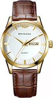 BRIGADA Swiss Brand Classic Gold Men's Dress Watch for Men with Date Calendar, Business Casual Quartz Men's Watch Waterproof