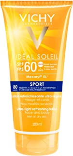 Vichy Water Resistant Sport Sunscreen, Ideal Soleil Sport SPF 60 Ultra Light Sunscreen Lotion for Face and Body, with Broa...