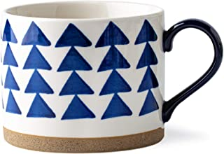 DAILYLAND Ceramic Coffee Mysterious Land Mug Hand-painted 16oz for home and office (White/Blue) (Triangle)