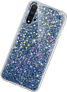 Funda Compatible con Huawei Nova 5.KunyFond Lentejuela Brillo Brillante Clear Silicona Suave Carcasa Color Purpurina Glitt...