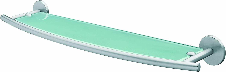 Bisk Virginia Frosted Glass Bathroom Shelf, Brushed Nickel