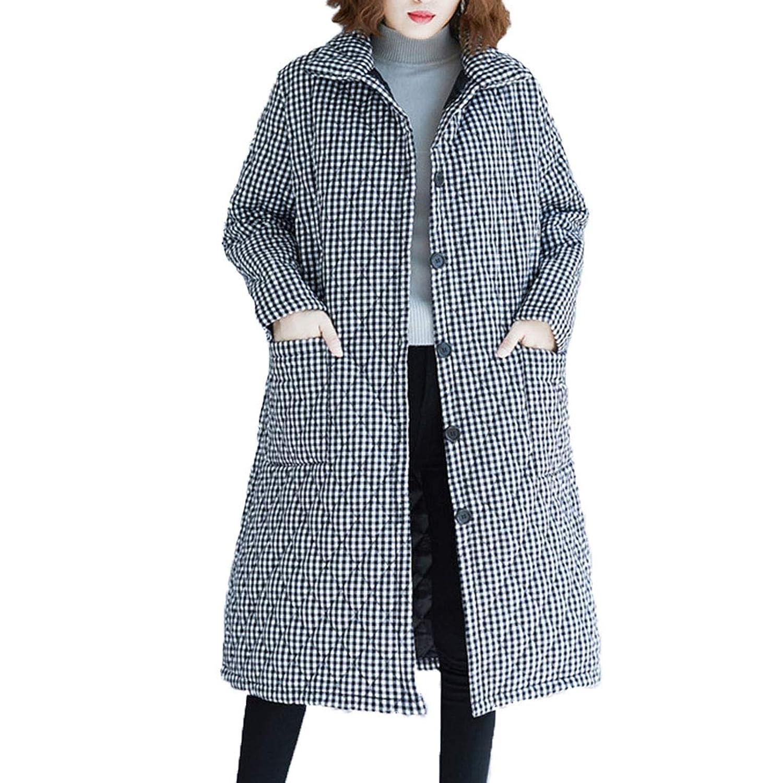 ローローLuoLuo キルティングコート ロングコート レディース チェック柄 中綿ジャケット 膝丈 ダウンコート 大きサイズ アウター ゆったり 冬服 30代 40代 50代