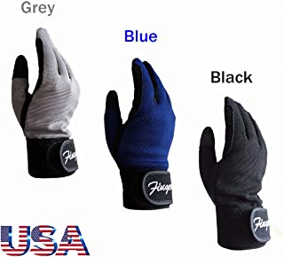 FINGER TEN Horse Riding Gloves Kids Boys Girls Equestrian Ride Youth 1 Pair,  Color Black Blue Summer Comfortable Grip for Kid Age 5-13