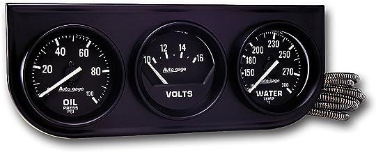 AUTO METER 2397 Autogage Black Console Oil/Volt/Water Gauge,2.3125 in.