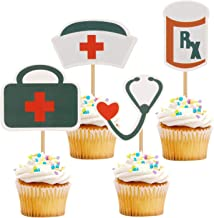 iMagitek 24 Pack Nursing Cupcake Toppers Decorations for Doctor & Nurse Graduation Party, Birthday Party