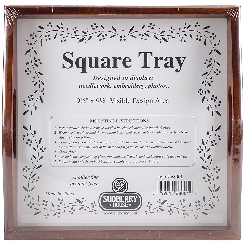 Sudberry House 68001 Small Square Tray, 10 x 10, Mahogany