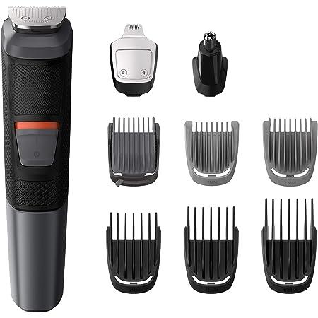 Philips MG5720/18 Recortadora 9 en 1 Maquina recortadora de barba y Cortapelos para hombre cara y cabeza, accesorios para nariz y orejas, 80 minutos de autonomía, Negro